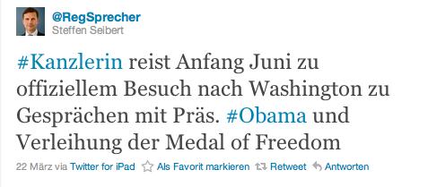 Stein des Anstoßes: USA-Tweet von Seibert