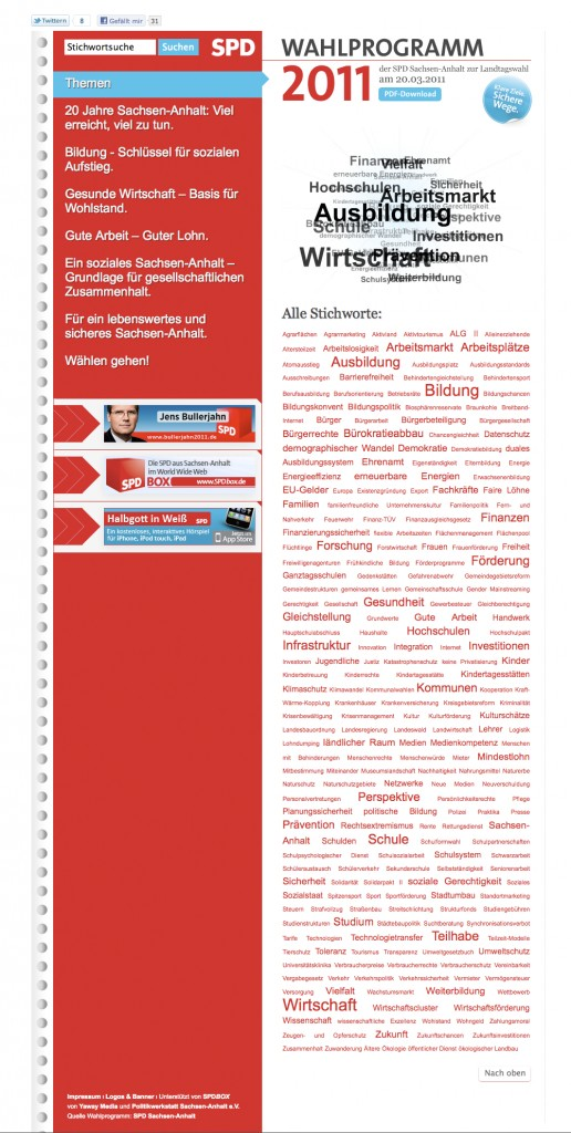 Screenshot der SPD-Webseite