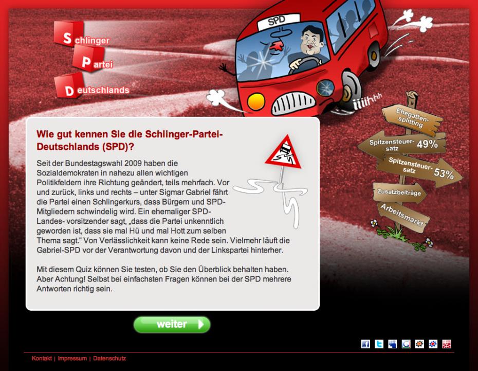 """Netzkampagne der CDU: SPD - die """"Schlinger-Partei Deutschlands"""""""
