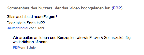 "Kommentar zu ""Fricke & Solms"" im FDP-Channel bei YouTube"