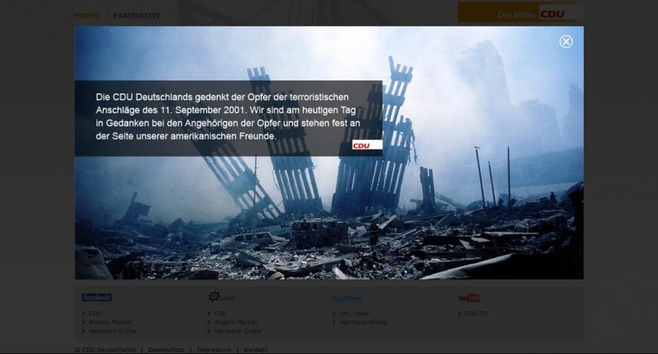 CDU gedenkt auf ihrer Website den Opfern des 11. September 2001