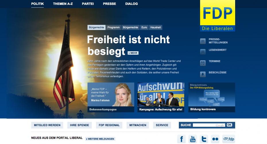"""Die FDP auf ihrer Website: """"Die Freiheit ist nicht besiegt"""""""