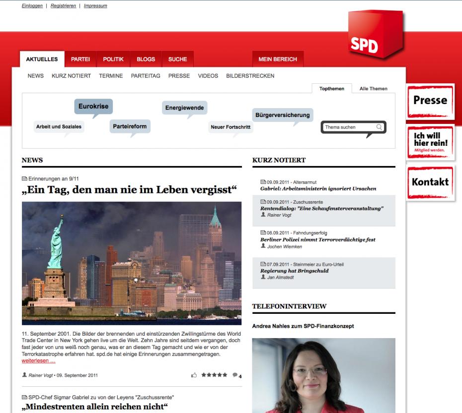 Die SPD widmet sich online den 9/11-Erinnerungen (Screenshot)