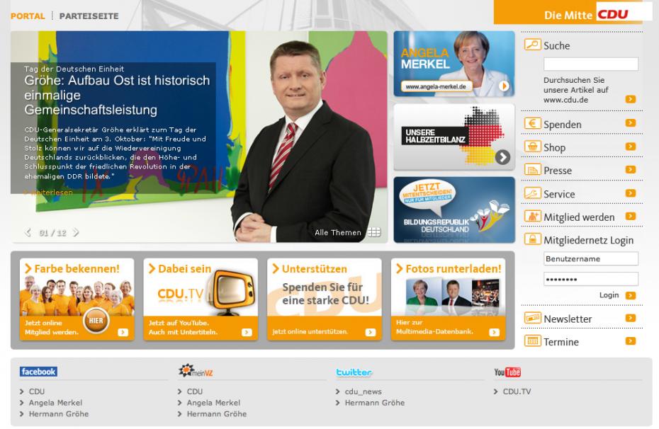 Partei des Kanzlers der Einheit: Einzig die CDU geht auf ihrer Website auf den 3. Oktober ein (Screenshot: Website der CDU)