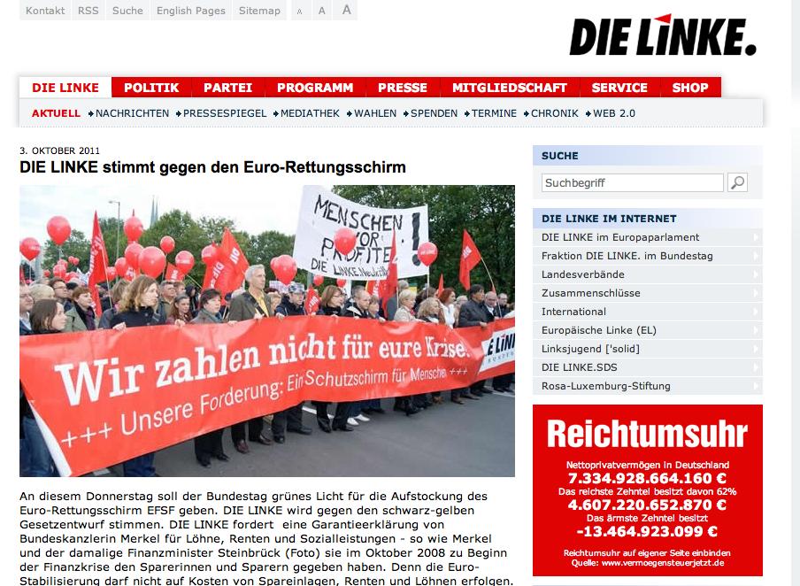 """Auch bei den Linken dominiert der EU-Rettungsschirm den Web-Auftritt der Partei (Screenshot: Website """"Die LINKE"""")"""