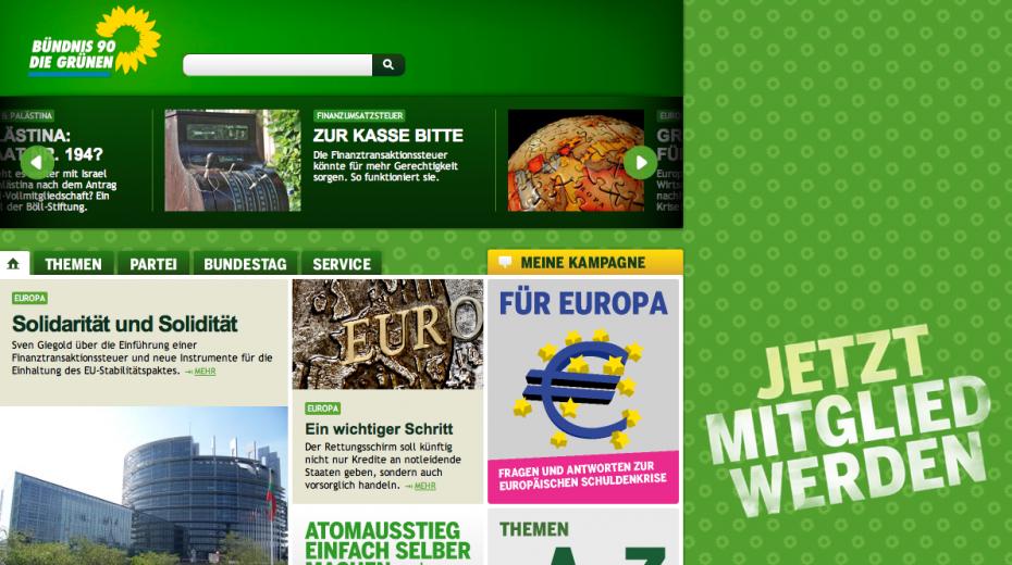Einheit in der Social Media-Leiste: Hin und wieder eine Twitter-Meldung zum 3.Oktober (Screenshot: Website von Bündnis 90/Die Grünen)