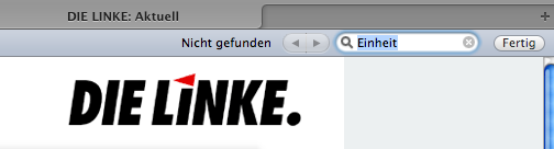 """""""Einheit"""" konnte nicht gefunden werden. (Screenshot: Website der Linken am 03.10.2011)"""