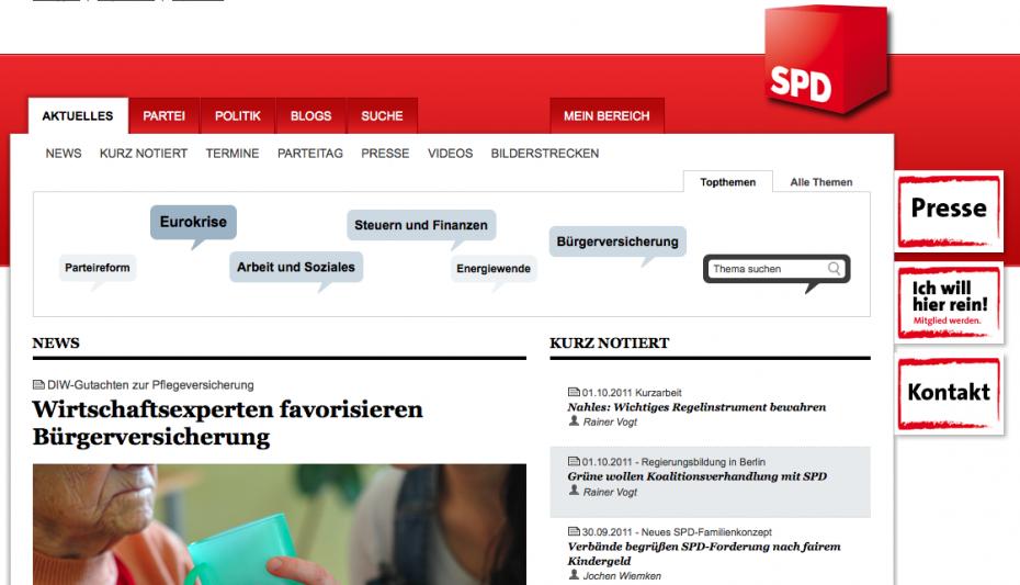 Auch bei den Sozialdemokraten ist der Jahrestag der Einheit kein Thema. (Screenshot: Website der SPD)
