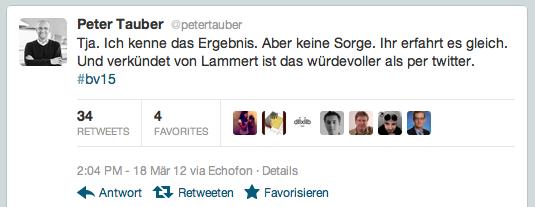 Peter Tauber kurz nach 14 Uhr bei Twitter